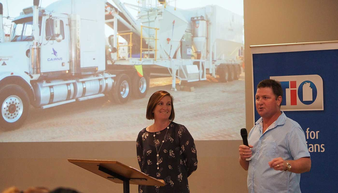 Kym and Shaun Cairns presenting at Katherine Business Dinner