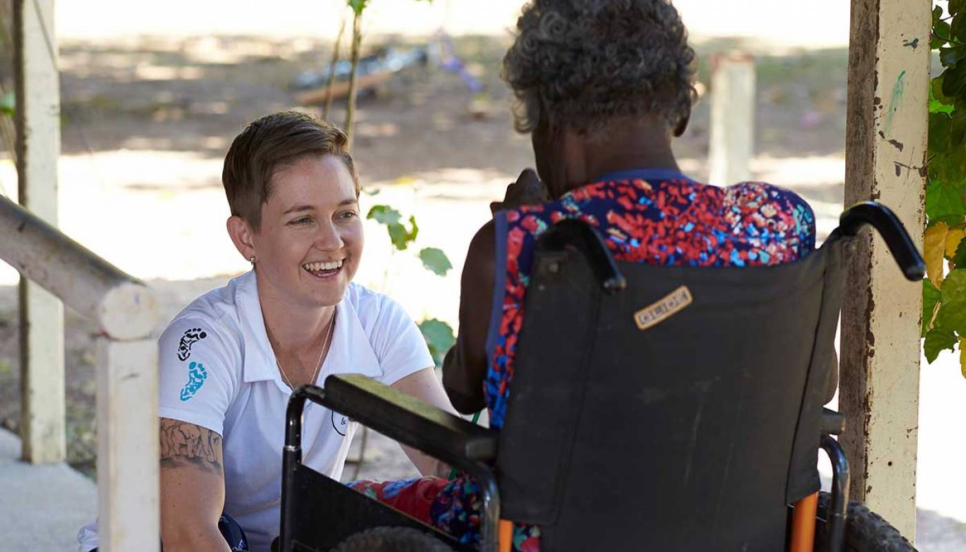 Liz Campbell working with a patient