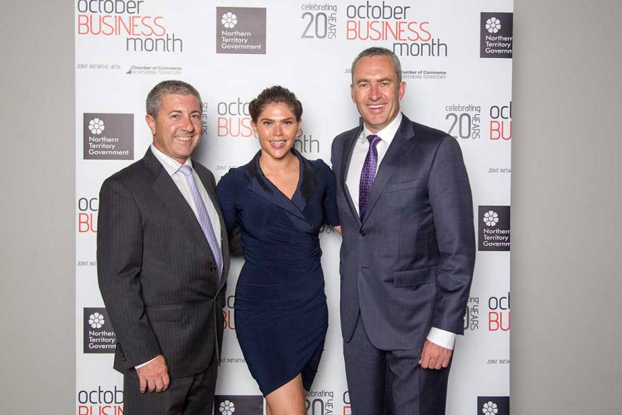 Mix 104.9 radio personalities, Greg Vincent and Ilaria Brophy with Mark Beretta