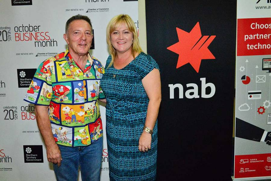 Leanne Southam from platinum sponsor NAB, with Peter Blasina