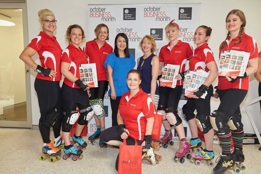 Silver sponsors Merit Partner with the Darwin Roller Derby Girls at the OBM calendar launch