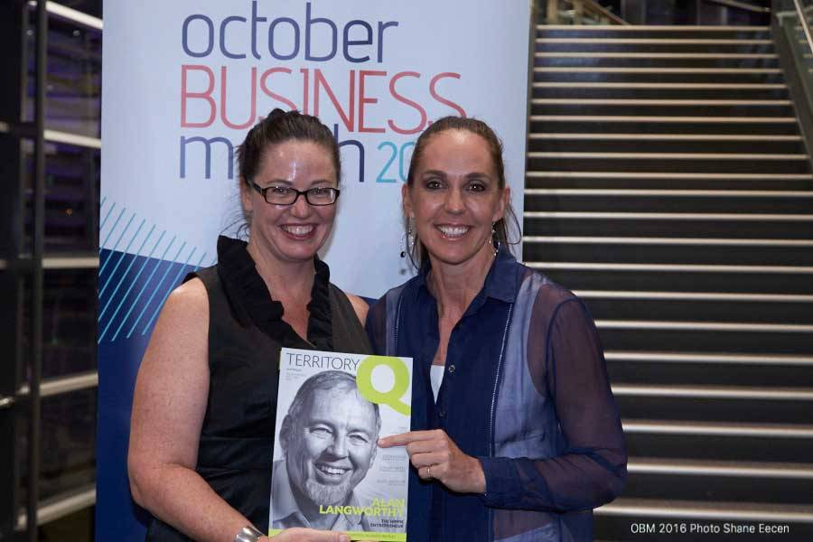 Territory business hero Anya Lorimer with Janine Allis keynote speaker at the 2016 Darwin opening