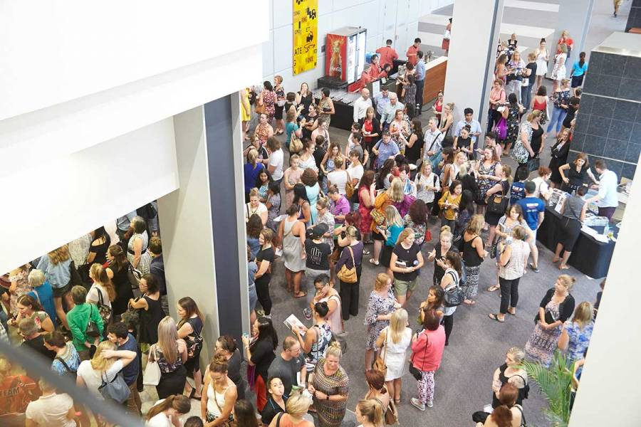 Large crowd gathering at the Darwin Convention Centre prior to Mia Freedman's closing event