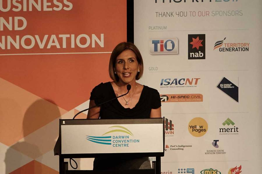 Platinum sponsor NAB's Angela Tomazos - our MC for the Turia Pitt keynote event in Darwin