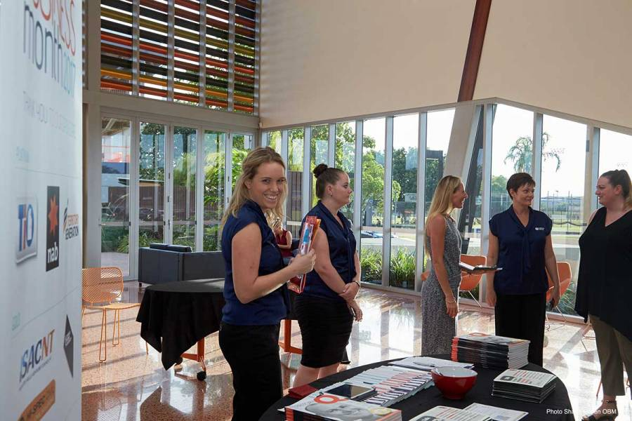 OBM team greeting guests at Peter Jackson keynote event in Darwin