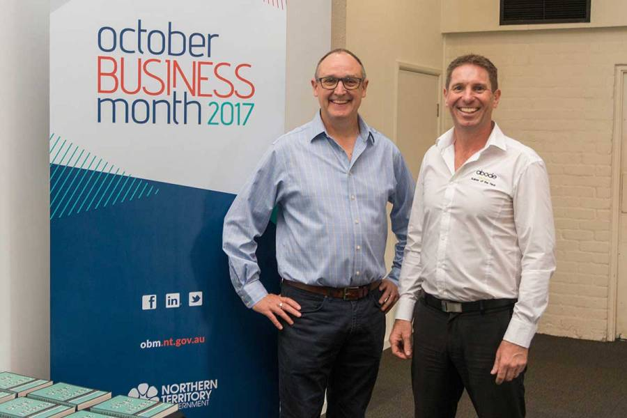 Keynote speaker Nigel Collin with Territory business success story Justin Gill, Director of Abode New Homes