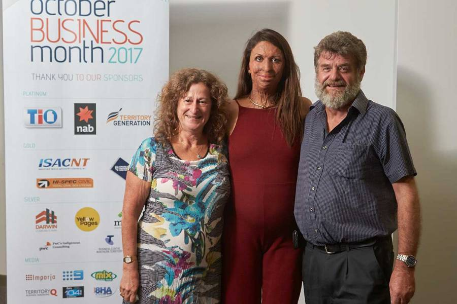 Silver sponsor Telstra Business Centre NT with Turia Pitt in Darwin